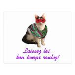 Mardi Gras Cat Postcard