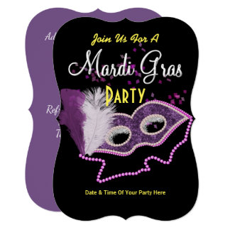 Mardi Gras Celebrations Fancy Mask Party Invite