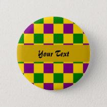 Mardi gras checkered pattern pinback button