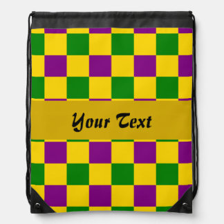 Mardi gras checkered pattern backpacks