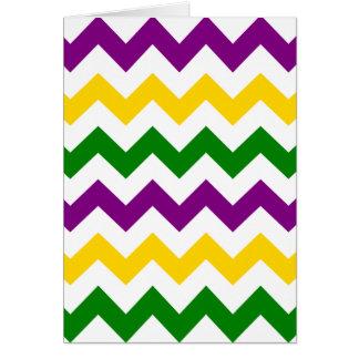 Mardi Gras Chevron Pattern Greeting Card