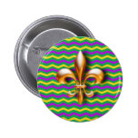 Mardi Gras - Chevron Print Pinback Buttons