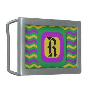 Mardi Gras - Chevron Print Rectangular Belt Buckle