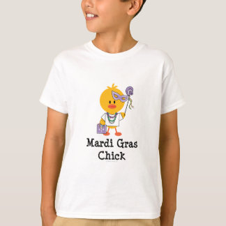 Mardi Gras Chick Kids T shirt