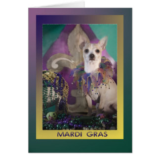 Mardi Gras Chihuahua in Costume Greeting Card