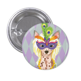 Mardi Gras Chinese Crested 1 Inch Round Button