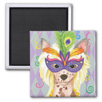 Mardi Gras Chinese Crested 2 Inch Square Magnet