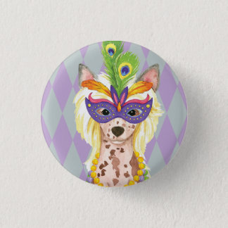 Mardi Gras Chinese Crested Button
