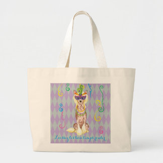Mardi Gras Chinese Crested Large Tote Bag