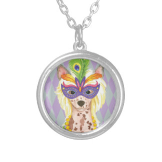 Mardi Gras Chinese Crested Silver Plated Necklace