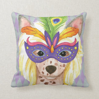 Mardi Gras Chinese Crested Throw Pillow