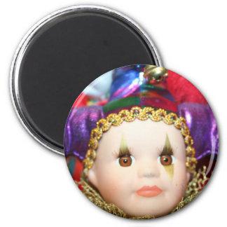 Mardi Gras clown doll magnet