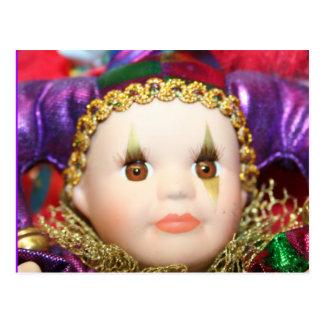 Mardi Gras clown doll Postcard