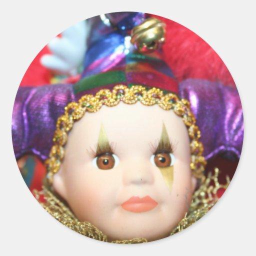 Mardi Gras clown doll stickers