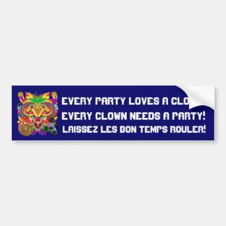 Mardi Gras Clown View notes please Car Bumper Sticker