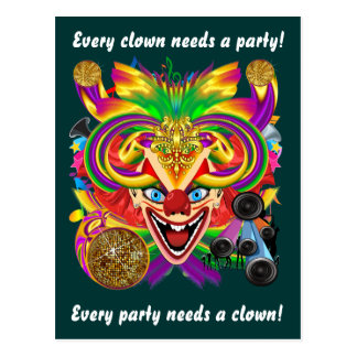 Mardi Gras Clown View Notes please Post Cards