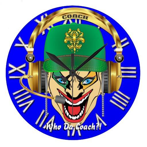 Mardi Gras Coach Football Design view hints please Large Clock