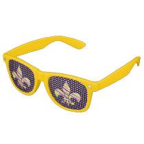Mardi Gras Colored Fleur De Lis Novelty Glasses
