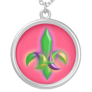 Mardi Gras Colors Fleur-de-lis Necklace Gift Gifts