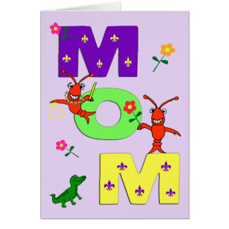 Mardi Gras Colors Happy Mother's Day Card
