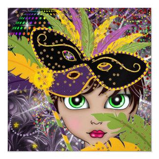 """Mardi Gras Costume Party Invitation by SRF 5.25"""" Square Invitation Card"""