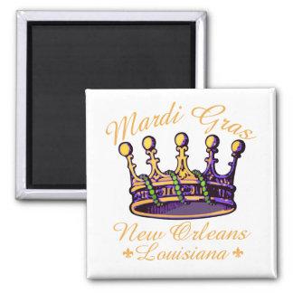 Mardi Gras Crown 2 Inch Square Magnet