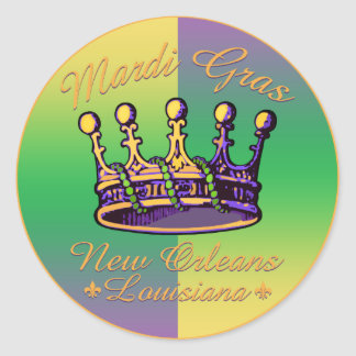 Mardi Gras Crown apparel and gifts Classic Round Sticker