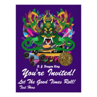 Mardi Gras D. J. Dragon King View Hints please Custom Invitation