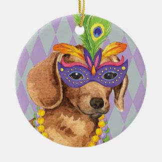 Mardi Gras Dachshund Ceramic Ornament