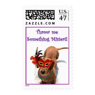 Mardi Gras Dachshund Dog Postage