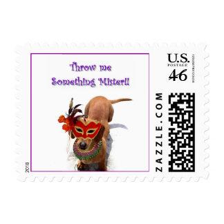 Mardi Gras Dachshund Dog Postage Stamp