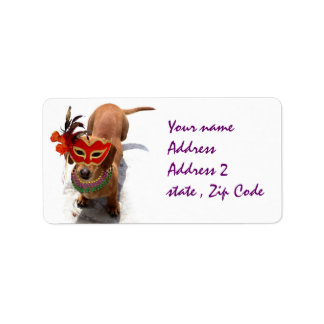 Mardi Gras Dachsund dog Address Label
