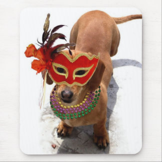 Mardi Gras Dachsund dog Mouse Pad