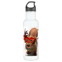 Mardi Gras Dachsund dog Water Bottle
