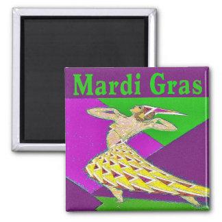 Mardi Gras Dancer 2 Inch Square Magnet