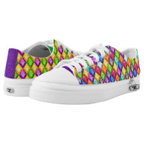 Mardi Gras Diamond Pattern Bling Low-Top Sneakers