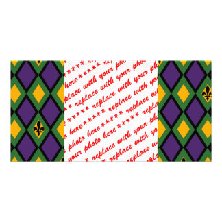 Mardi Gras Diamond Pattern With Fleur De Lis Card