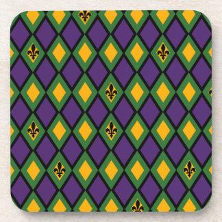 Mardi Gras Diamond Pattern With Fleur De Lis Beverage Coaster