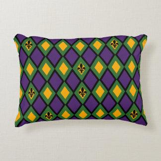 Mardi Gras Diamond Pattern With Fleur De Lis Decorative Pillow