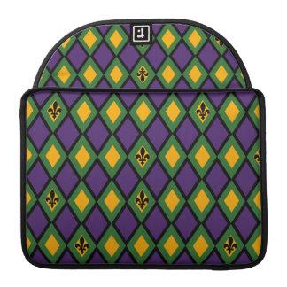 Mardi Gras Diamond Pattern With Fleur De Lis Sleeve For MacBook Pro