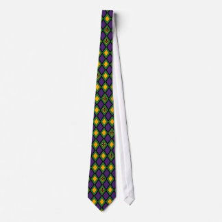 Mardi Gras Diamond Pattern With Fleur De Lis Neck Tie