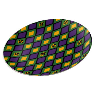 Mardi Gras Diamond Pattern With Fleur De Lis Plate
