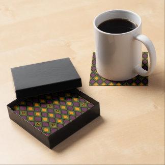 Mardi Gras Diamond Pattern With Fleur De Lis Drink Coasters