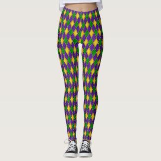 Mardi Gras Diamonds Harlequin Print Pattern Leggings