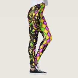 Mardi Gras Diamonds Pop Fashion Leggings