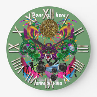 Mardi Gras Dragon King View notes please Large Clock