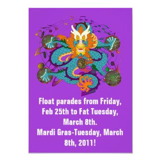 Mardi Gras Dragon V-2 5x7 Paper Invitation Card