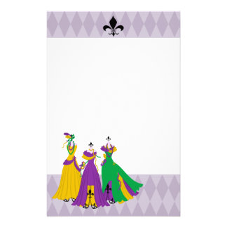 Mardi Gras Dress Shop Custom Stationery