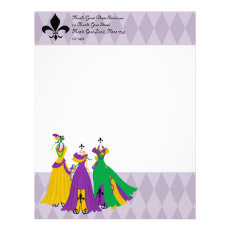 Mardi Gras Dress Shop Letterhead Template