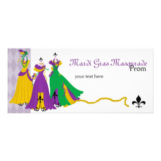 Mardi Gras Dress Shop Rack Card Design